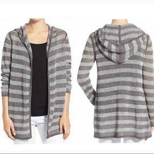 Eileen Fisher hooded striped open draped cardigan
